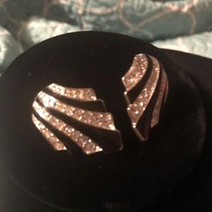 Retro Black & Clear Stone Silver Tone Earrings